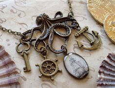 The Kraken In Brass Octopus Necklace by TheLysineContingency