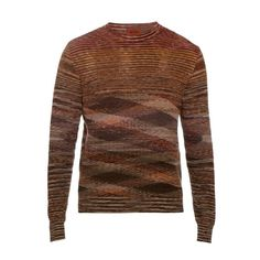 Missoni Long-sleeved cotton and linen-blend knit top (£560) ❤ liked on Polyvore featuring men's fashion, men's clothing, men's shirts, men's casual shirts, men wear and red multi