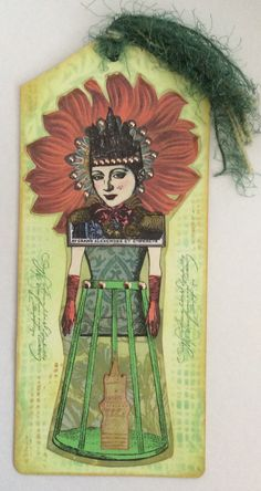 Paper doll art tag by Shannon Benedetti.  Paper Artsy, Invoke, Character Constructions stamps.