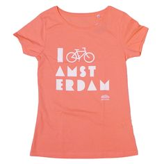 I Bike Amsterdam Flamingo Pink Women T-shirt