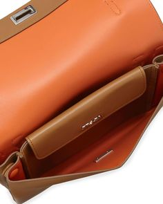 Lux Calf Shoulder Bag, Brown (Caramel)