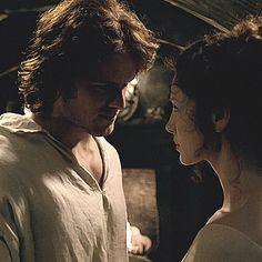 Jamie undressing Claire on their wedding night. | Outlander S1E7 'The Wedding' on Starz