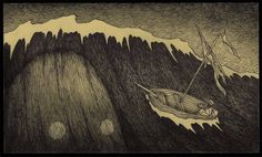 Edward Gorey is one of my favorite artists. What if he had illustrated Lovecraft's stories or created artwork with Lovecraftian themes? The art of John Kenn Mortensen might be the result. Monster Drawing, Monster Art, Sea Monsters, Little Monsters, Monster Illustration, Illustration Art, Don Kenn, Post It Art, H.p. Lovecraft