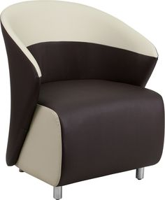 Dark Brown Leather Reception Chair with Beige Detailing. Create a comfortable setting for your guests that will make waiting more pleasant. Your lobby or reception area is the forefront of your business and providing distinguished and comfortable seating is the first step towards making a great impression. Selecting inviting reception pieces will welcome visitors for the first time and make them want to visit again. This attractively designed chair features contrasting colors on the side…