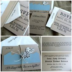 Wedding Invitations - Better Together - Beach - Rustic - Recycled Kraft - Destination - Custom Colors - Twine - Heart Tag - Sample by kandvcrafts on Etsy https://www.etsy.com/listing/94968428/wedding-invitations-better-together