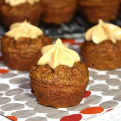 Healthy pumpkin spiced mini muffins. Made gluten-free with oat flour. Salted caramel buttercream icing adds a touch of decadence.