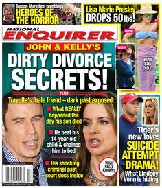 NEW NATIONAL ENQUIRER COVER: Claims John Travolta & Kelly Preston Have Dirty Divorce Secrets John Travolta Kelly Preston, Boston Marathon Bombing, National Enquirer, Lisa Marie Presley, What Really Happened, 14 Year Old, Digital Magazine, New Love