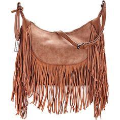 Urban Originals Fringed Goddess Hobo Bag (€65) ❤ liked on Polyvore featuring bags, handbags, shoulder bags, tan, tan shoulder bag, brown purse, hobo shoulder handbags, zipper purse and tan handbags