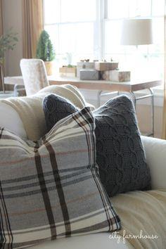 City Farmhouse Family Room Holiday Tour-IKEA Hacked Pillows
