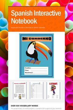 Spanish Interactive Notebook. BACK TO SCHOOL BUNDLE -wonderful tool to organize all your vocabulary words for Spanish I  students.  Excellent review for Spanish II of basic vocabulary. This Interactive notebook contains over 500 vocabulary words neatly organized by topic. You can use each individual vocabulary list as an assessment. It also includes two Back to School activities. You can collect it and grade it. In Middle School and High School and it can become easily 25% of their grade.