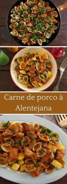 Carne de Porco à Alentejana (Portuguese Pork & Clams) Brunch Recipes, Meat Recipes, Wine Recipes, Cooking Recipes, Brazilian Dishes, Portuguese Recipes, Portuguese Food, Pork Dishes, International Recipes