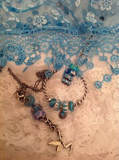 Turquoise and lace.