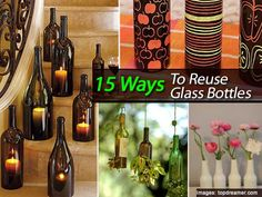 Whether you are looking for a creative project involving glass bottles, or you simply have a few glass bottle that you have no idea what to do with, here are some fun projects. There are several ones which result in some great candles, which can make for wonderful mood setting... #fal #spr #sum
