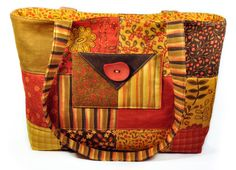 Large Quilted Tote Bag Patchwork Fall by MysticRainCreations
