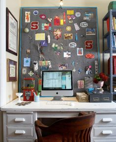 Love this white-washed, workhorse desk paired with...