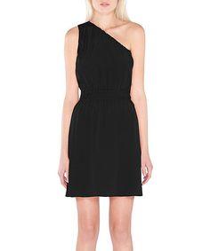 Look what I found on #zulily! Black Ray Silk Asymmetrical Dress #zulilyfinds