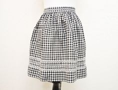 1950s Half Apron Black and White Gingham Check by YellowBeeVintage