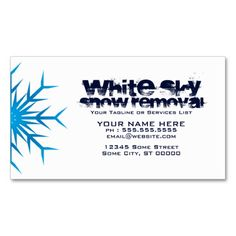white sky snow removal business card. This great business card design is available for customization. All text style, colors, sizes can be modified to fit your needs. Just click the image to learn more!