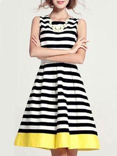 Women's Knee Length Dress Sleeveless Striped Fit and Flare Party Dress, White, 8 Day Dresses, Dresses Online, Summer Dresses, Prom Dresses, Vestidos Plus Size, Plus Size Dresses, Fit And Flare, Stylish Dresses, Fashion Dresses