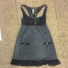 Free people black lace dress Free people black lace and grey wool dress Free People Dresses