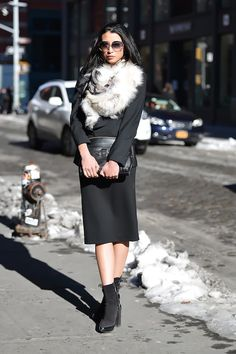 Looking very chic on the street in NYC.