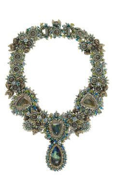 Collar-Style Necklace with Labradorite Gemstone Cabochons and Beads, Seed Beads and Swarovski Crystal Beads and Pearls