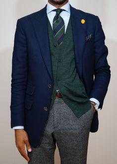 Navy blazer, light blue shirt, green & navy Argyle & Sutherland tie, dark grey pants