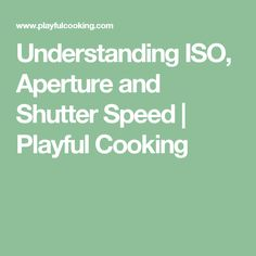 Understanding ISO, Aperture and Shutter Speed | Playful Cooking