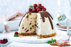 This festive dessert has all the theatre of a Christmas pudding but all the indulgence of ice-cream. You'll need to start this recipe one day ahead. Christmas Ice Cream, Frozen Christmas, Christmas Pudding, Christmas Time, Xmas Food, Christmas Cooking, Christmas Desserts, Christmas Recipes, Christmas Treats
