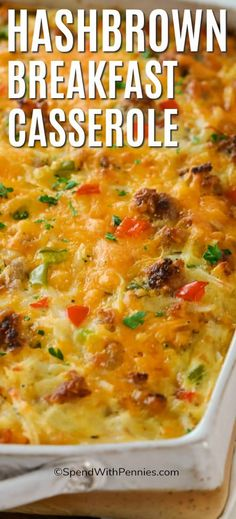 Hashbrown breakfast casserole is a hearty and delicious make ahead casserole. Whether just prepping or baking ahead it is the best early morning option. Try freezing leftovers for a quick and easy breakfast on the go! #spendwithpennies #breakfastcasserole #breakfast #casserole #hashbrownbreakfastcasserole #makeahead #overnightbreakfast