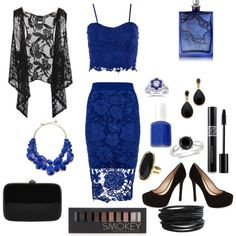 Lace And Blue by savannahs-outfits on Polyvore featuring polyvore fashion style Dorothy Perkins Daytrip Jessica Simpson Rocio Ice Kate Spade Kenneth Jay Lane Pieces Forever 21 The Beautiful Mind Series Essie