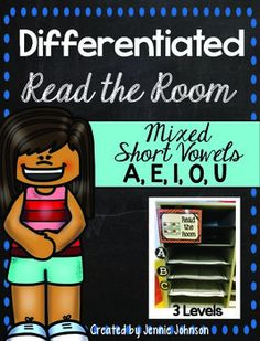 Mixed Short Vowels a,e,i,o,u Differentiated Read the Room - With purchase you receive 20 short vowel word cards and two different choice for a front and back cover. See the preview file for a sample. 12 pages $ Great for Kindergarten, 1st, or 2nd grade!