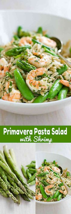 This Primavera Pasta Salad with Shrimp is fantastic for a light dinner or a picnic lunch! Packed with asparagus and snap peas. 292 calories and 7 Weight Watchers SmartPoints