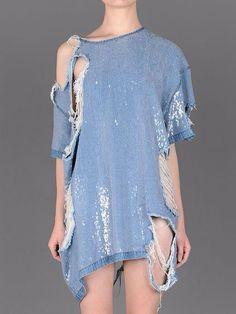 5e09e538ea5 Distressed denim jean sequin dress. Interesting