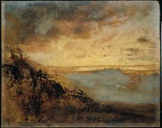 """amare-habeo: """"  Auguste Rodin (French, 1840 - 1917) Golden sunset on the dunes at Soignes forest, 1871/1877 Oil on paper pasted on cardboard, 27 x 34 cm """""""