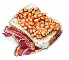 Baked Beans on Toast (Holly Exley) Watercolor Food, Watercolor Illustration, Portrait Illustration, Holly Exley, Baked Beans On Toast, Food Sketch, Food Artists, Poster Art, Food Painting