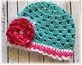 Cotton Candy Carnival 2-Crochet Aqua-Hot Pink-White Hat w/ Hot Pink Fabric Flower Clip-Baby Hat-Toddler Hat-Baby Shower-Vintage Crochet Hat