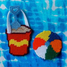Plastic Canvas Sand Pail and Beach Ball by ReadySetSewbyEvie, $3.50