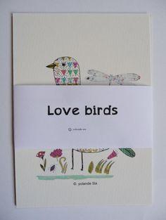Lovely cards birds flowers colors geometrics by mademoiselleyo, $5.50