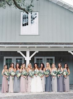 Showcase your wedding party on your big day in their David's Bridal bridesmaid dresses! Grey Bridesmaid Dresses, Bridesmaids And Groomsmen, Wedding Bridesmaids, Wedding Dresses, Dresses Dresses, Grey Dresses, Bridesmaid Outfit, Different Colour Bridesmaid Dresses, Wedding Dress Colors