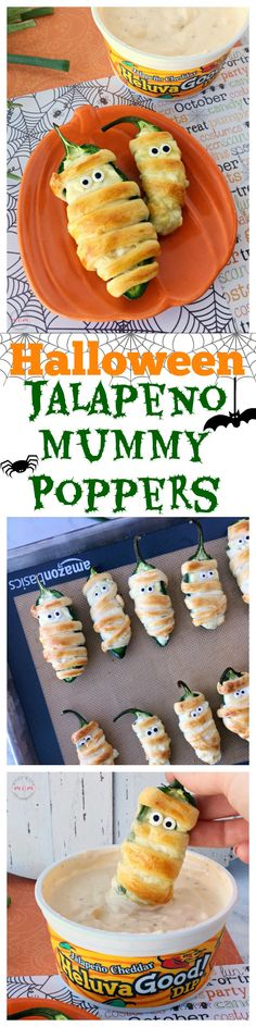 Halloween food idea! Jalapeno popper mummies! Baked jalapeno poppers are easy and this recipe uses healthier ingredients. via @musthavemom