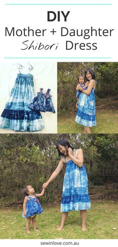 Mother and Daughter Dress Patterns | I made a matching outfit using shibori tie-dye fabric I dyed myself. More info on the sewing patterns I used o the blog!