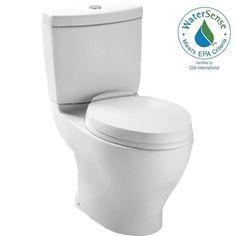 Toto Aquia II 2-piece 1.6 GPF or 0.9 GPF Dual Flush Elongated Toilet in Cotton - No Seat