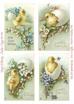 Wings of Whimsy: 1908-1910 Easter Chicks In Floral Eggs