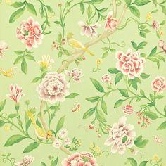 Porcelain Garden Wallpaper Large floral design featuring birds in rose on mint green