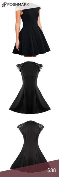 "🆕 Sleevless Lace Patch A Line Dress Women's Little Black Dress W/ Lace Patch on Top Front and Back, Zipper Back  Polyester Material  S: Bust 34"" Waist 27"" Length 33"" M: Bust 36"" Waist 29"" Length 35"" L: Bust 38"" Waist 31"" Length 37"" XL: Bust 40"" Waist 33"" Length 39"" Dresses Mini"