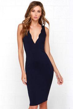 Navy Blue Dress - Midi Dress - Bodycon Dress - $48.00