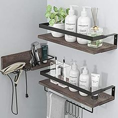 Amazon.com: LYNNC 3 in 1 Rustic Floating Shelves, Decorative Storage Shelves with Towel Bar, Wall Mounted Shelves Holder for Bathroom, Kitchen & Bedroom - Set of 3 Shelves (Brown): Kitchen & Dining Wall Mounted Storage Shelves, Hanging Shelves, Bathroom Shelves, Kitchen Shelves, Kitchen Dining, Room Kitchen, Bathroom Ideas, Kitchen Office, Kitchen Decor