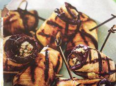 Auberginerolletjes met kruidige kaasvulling