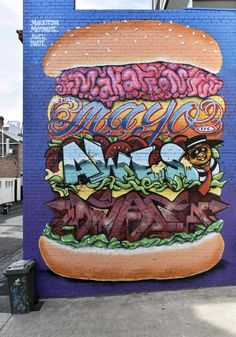 https://flic.kr/p/zP5pwt | Burger stack | Street art by Makatron, Mayonaise, Awes & Dvate
